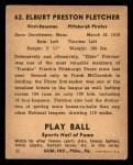 1941 Play Ball #62  Elbie Fletcher  Back Thumbnail