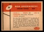 1960 Fleer #34  Ron Drzewiecki  Back Thumbnail