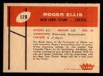 1960 Fleer #119  Roger Ellis  Back Thumbnail