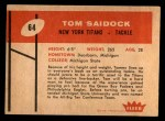 1960 Fleer #64  Tom Saidock  Back Thumbnail