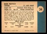 1961 Fleer #34  Bob Pettit  Back Thumbnail