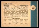 1961 Fleer #23  Sam Jones  Back Thumbnail