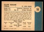 1961 Fleer #18  Cliff Hagan  Back Thumbnail