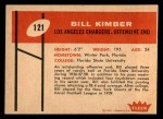 1960 Fleer #121  Bill Kimber  Back Thumbnail