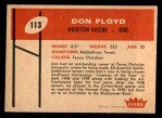 1960 Fleer #113  Don Floyd  Back Thumbnail
