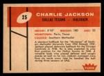 1960 Fleer #25  Charlie Jackson  Back Thumbnail