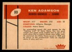 1960 Fleer #33  Ken Adamson  Back Thumbnail