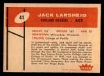 1960 Fleer #41  Jack Larsheid  Back Thumbnail