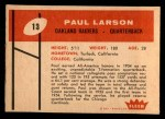 1960 Fleer #13  Paul Larson  Back Thumbnail