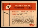 1960 Fleer #48  Buddy Allen  Back Thumbnail