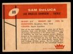 1960 Fleer #89  Sam DeLuca  Back Thumbnail