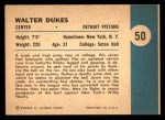 1961 Fleer #50   -  Walter Dukes In Action Back Thumbnail