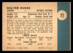 1961 Fleer #11  Walter Dukes  Back Thumbnail