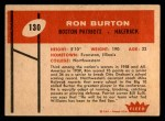 1960 Fleer #130  Ron Burton  Back Thumbnail