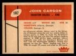 1960 Fleer #107  John Carson  Back Thumbnail