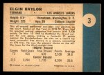 1961 Fleer #3  Elgin Baylor  Back Thumbnail