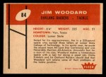 1960 Fleer #84  Jim Woodard  Back Thumbnail