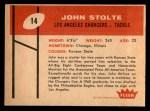 1960 Fleer #14  John Stolte  Back Thumbnail