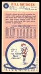 1969 Topps #86  Bill Bridges  Back Thumbnail