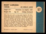 1961 Fleer #57  Rudy LaRusso  Back Thumbnail