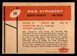 1960 Fleer #10  Bob Stransky  Back Thumbnail