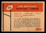 1960 Fleer #122  Jim Matheny  Back Thumbnail