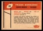 1960 Fleer #54  Frank Bernardi  Back Thumbnail
