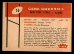 1960 Fleer #56  Gene Cockrell  Back Thumbnail