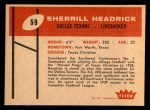 1960 Fleer #59  Sherrill Headrick  Back Thumbnail
