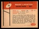1960 Fleer #75  Marv Lasater  Back Thumbnail