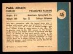 1961 Fleer #45  Paul Arizin  Back Thumbnail