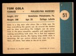 1961 Fleer #51   -  Tom Gola In Action Back Thumbnail