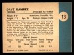 1961 Fleer #13  Dave Gambee  Back Thumbnail