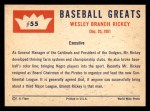 1960 Fleer #55  Branch Rickey  Back Thumbnail