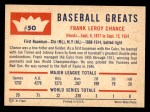 1960 Fleer #50  Frank Chance  Back Thumbnail