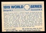 1970 Fleer World Series #16   1919 Reds vs. White Sox  Back Thumbnail