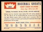 1960 Fleer #65  Harry Heilman  Back Thumbnail
