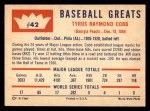1960 Fleer #42  Ty Cobb  Back Thumbnail