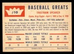 1960 Fleer #10  Tris Speaker  Back Thumbnail