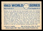 1970 Fleer World Series #60   -  Moose Skowron 1963 Dodgers vs. Yankees   Back Thumbnail