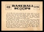 1961 Nu-Card Scoops #418   Don Larsen   Back Thumbnail