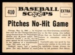 1961 Nu-Card Scoops #410   -   Don Cardwell  Don Cardwell of Cubs Pitches No-Hit Game Back Thumbnail