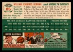 1954 Topps #86  Billy Herman  Back Thumbnail