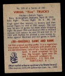 1949 Bowman #219  Virgil Trucks  Back Thumbnail