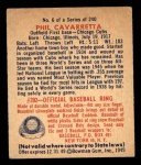 1949 Bowman #6  Phil Cavarretta  Back Thumbnail