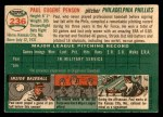 1954 Topps #236  Paul Penson  Back Thumbnail