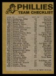1974 Topps Red Checklist   Phillies Red Team Checklist Back Thumbnail