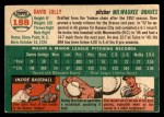 1954 Topps #188  Dave Jolly  Back Thumbnail