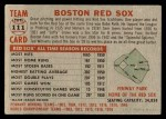1956 Topps #111 GRY  Red Sox Team Back Thumbnail