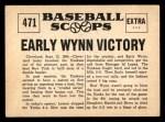 1961 Nu-Card Scoops #471   Early Wynn   Back Thumbnail